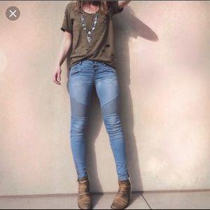 Free People seamed moto jeans